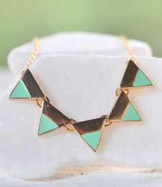 Mint Triangle Geometric Necklace in Gold