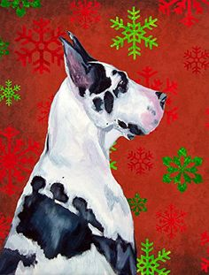 Caroline's Treasures LH9326CHF Great Dane Red Green Snowflakes Christmas Flag Canvas, Large, Multicolor > Remarkable product available now. : Garden Christmas Decorations