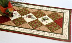 Christmas Table Runner, Quilted Table Topper, Holly Pines, Red Winter Table Runner, Table Quilt, Quiltsy Handmade by RedNeedleQuilts on Etsy