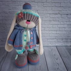 """ONLY CLOTHES """"Set in the blue coat"""". Crochet and knit outfit pattern by Irina Tarasova. Knit And Crochet Now, Crochet Boots, Crochet Bunny, Crochet Doll Clothes, Knitted Dolls, Knitted Hats, Christiane Jean, Bunny Outfit, Knitted Animals"""