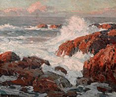 A Repository of Paintings - Edgar Payne Crashing waves 20 x Western Landscape, Landscape Art, Landscape Paintings, Landscapes, Seascape Paintings, Paintings I Love, Beach Paintings, Edgar Payne, Virtual Art