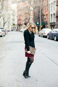 black + burgundy + a pop of leopard