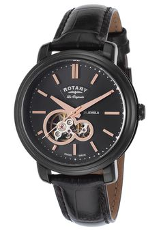 Rotary Men's Automatic Black Genuine Leather Black Dial Rose-Tone Accents - Watch GS90502-04,    #Rotary,    #GS9050204,    #WatchesDressAutomatic