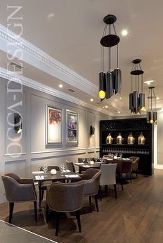 Restaurant Interior Design, Lanterns, Leather Chairs, Contemporary Lighting, Neutral Interior, Georgian hotel