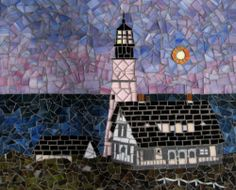 Maine Lighthouse Mosaic Tile Portland Head Light at Dusk Stained Glass Wall Art | eBay