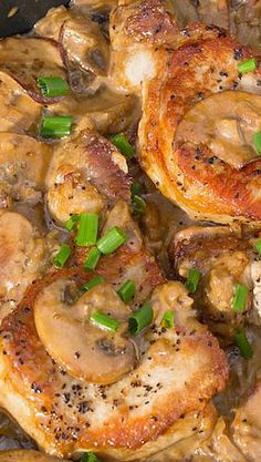 Pork Chops with Brandy Mushroom Sauce