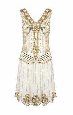 SEQUIN CHARLESTON FLAPPER 6 8 10 12 14 GATSBY dress 1920's BEADED GOLD