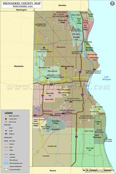 Wisconsin Map (WI), covers an area of 65,556 sq miles and it is 23rd ...