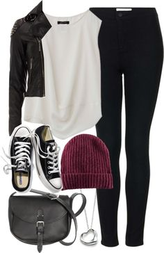 Black Leather Jacket+Jeans+Black Converses+Purple Beanie+Black Handbag