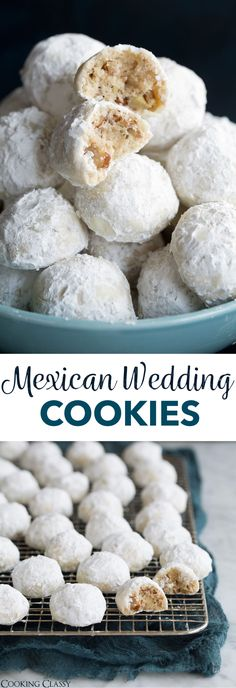Mexican Wedding Cookies - These are one of the most dreamy cookies and they're so easy to make! Perfectly round, buttery, pecan dotted cookies are rolled in sweet blizzard of snowy white powdered sugar and you'll be savoring every tender bite. Köstliche Desserts, Holiday Baking, Christmas Desserts, Christmas Baking, Delicious Desserts, Cookie Vegan, Powdered Sugar Cookies, Italian Wedding Cookies, Mexican Wedding Cookies Recipe Pecans