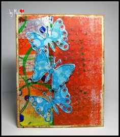 QFTD166 - ...butterflies are three... by Mutnik - Cards and Paper Crafts at Splitcoaststampers It's finally Friday. What a week! Today I came across a new technique for the gelli plate that I couldn't wait to try. We also have a new QFTD, it is Stamp Muse, or Miss M as I call Emily. I chose to case her card that she cased from JD from Pausa. SO technically it is a double case. hehe