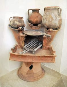 Ceramic Pottery, Ceramic Art, Clay Oven, Cooking Stove, Rocket Stoves, Ancient Artifacts, Cooking Utensils, Clay Pots, Ancient Greece