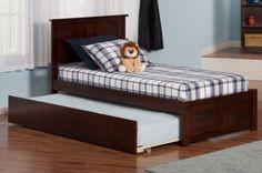 Madison Antique Walnut Twin Bed w/Flat Panel Footboard