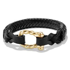 David Yurman Maritime Leather Woven Shackle Bracelet in Black Leather... ($1,900) ❤ liked on Polyvore featuring men's fashion, men's jewelry, men's bracelets, mens leather braided bracelets, mens leather bracelets, mens yellow gold bracelets, mens woven bracelets and mens woven leather bracelets