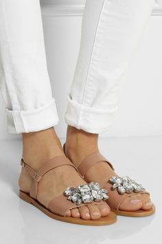 J.Crew | Camden embellished leather sandals | NET-A-PORTER.COM