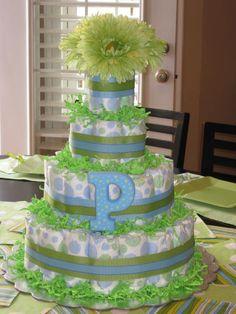 Diaper cake for a boys baby shower