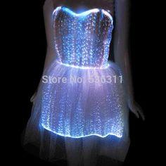 Vestido com Fibra Ótica (LED) e Controle Remoto  8 Variações de Cores e Efeitos Especiais