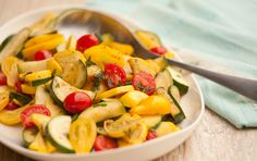 Summer Saute recipe from Whole Foods. Delicious, easy, healthy! Quick cooking is the secret to this side dish's super-fresh taste. Serve it warm or room temperature, and use leftovers in omelets or add to a marinara sauce for pasta.