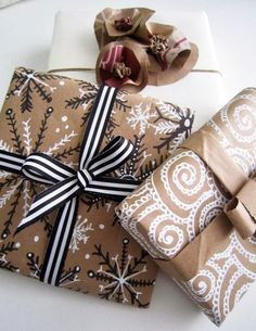 brown paper bags, wrap gifts, giftwrap, gift wrapping, brown paper packages, brown bags, grocery bags, doodle art, christmas wrapping