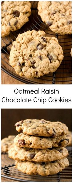 Oatmeal Raisin Chocolate Chip Cookies - thick and chewy and so so delicious! #recipe #cookies