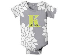 Mums Monogram Baby Bodysuit Personalized Grey by SimplySublimeBaby, $24.95