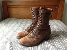 Brown Leather Roper Boots // Western Lace Ups // by russellworks, $74.00