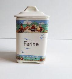 Go Pentyofamelie.com   French Kitchen Canister Set, Digoin Tiny Flowers  Porcelain Pots Kitchen