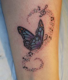 butterfly music note tattoo - Google Search
