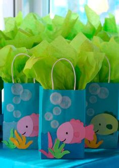 Under the sea birthday party favors! See more party planning ideas at… 4th Birthday Parties, Birthday Party Favors, Birthday Ideas, Fish Party Favors, Birthday Giveaways For Kids, Fish Party Decorations, 2nd Birthday, Little Mermaid Parties, Under The Sea Party