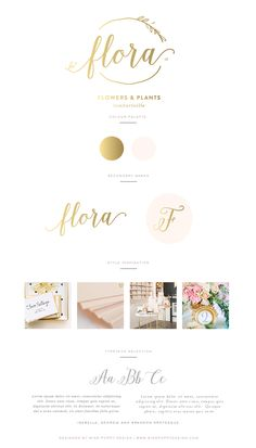 Flora - Logo and Brand Design by Miss Poppy Design - Branding - Brand Board - Calligraphy - Vintage
