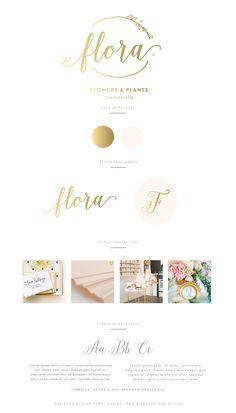 Flora - Logo and Brand Design by Miss Poppy Design - Branding - Brand Board - Calligraphy - Vintage