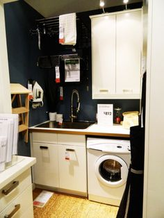 Ikea laundry room - like the washer next to the sink and the drying racks above. Ikea Laundry Room, Laundry Nook, Laundry Tubs, Basement Laundry, Doing Laundry, Laundry Room Organization, Ikea Inspiration, Laundry Room Inspiration, Ikea Home