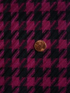 """BWC5128 Wool Houndstooth Twill Weave Suiting Black, Bright Magenta 58"""" Wide $15"""