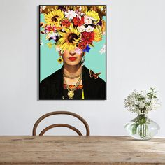 Frida Kahlo Moda Floral Autoportret Artystyczny Na Płótnie Malarstwo Plakat, kwiat Zdjęcia Ścienny do Salonu Home Decor Flower Paintings, Flowers, Image, Home Decor, Frida Kahlo, Poster, Homemade Home Decor, Paintings Of Flowers, Royal Icing Flowers