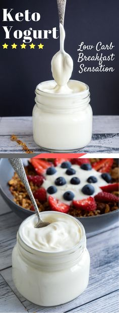 Keto Yogurt is by far my best homemade addition to my favoritebreakfast,Keto Granola, and its super tasty by itself. You can also make this keto homemade yogurt with normal whole cows milk, as the bacteria consumes most of the naturally occurringsugars, otherwise known as lactose. via @fatforweightlos