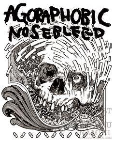 "AGORAPHOBIC NOSEBLEED 2013 tshirts ""Collapse By A Noise"" Artwork by Yuzuru namiki"