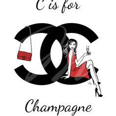 Chanel Logo Monogram Champagne Girl Fashion by MPillustration