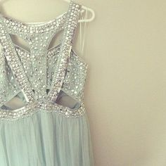 Light blue sequined dress, I like the idea of sequins and light blue sheers, but more modest than this