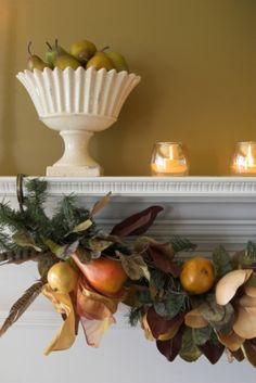 TIP: Getting your home holiday ready? Don't forget about decorating your fireplace! Using pines and plastic fruits to create garlands to hang across your fireplace creates a warm and cheerful holiday ambience.