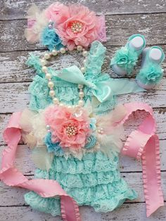 Lace Romper Set,Newborn Outfit~Petti Romper Set,Newborn Romper~Toddler Outfit~Cake Smash~1st Birthday Outfit~Photo Prop~Girls Pearl Necklace on Etsy, $89.95