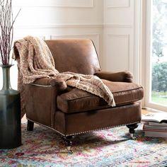 Safavieh Chloe Brown Club Chair - x x New Living Room, Living Room Chairs, Living Room Furniture, Living Room Decor, Dining Chairs, Brown Leather Chairs, Leather Club Chairs, Leather Sofa, Man Cave Furniture