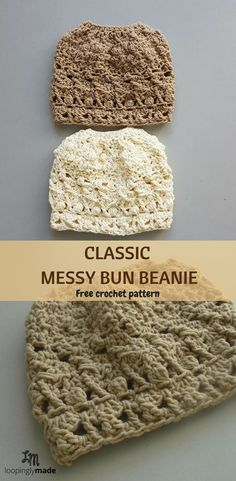 A richly textured, airy and classic crochet bun beanie you will love. Try it!