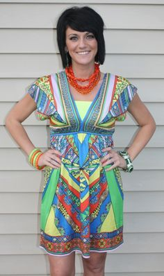 SALE Party Rock  Blue, Yellow, Orange and Green Summer  Dress FINAL $24.47 www.gugonline.com