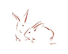 """""""Minimalist Two Bunnies 1"""" by Sidney Eileen. 7""""x10"""" Brush marker on watercolor paper."""