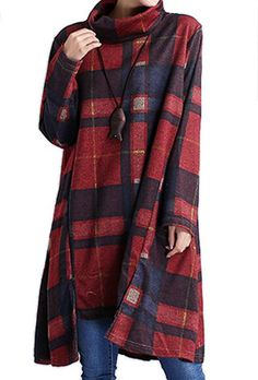 P Ammy Fashion Women's Turtle Neck Checkerd Irregular Jersey Jumper Dress Orange-Red Size UK 14 Jumper Dress, Plaid Scarf, Casual Dresses, Turtle Neck, Pullover, Long Sleeve, Womens Fashion, Sleeves, Cotton