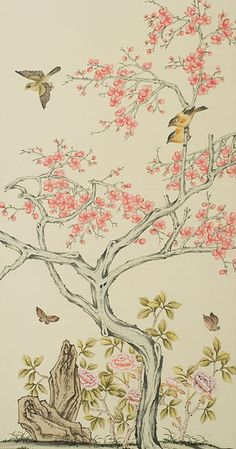 Classic style elegant Hand-painted silk wallpaper painting flowers with birds wallcovering many patterns and background optional Gracie Wallpaper, Fabric Wallpaper, Wall Wallpaper, Modern Wallpaper, Interior Wallpaper, Chinoiserie Wallpaper, Hand Painted Walls, Painted Silk, Silk Painting