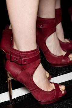 burgundy high heels velvet sandal - looks more like suede to me