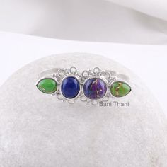 Two Finger Ring Gemstone Ring Purple and Green Copper by BaniThani