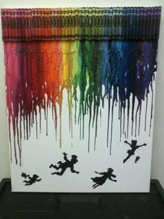 Peter Pan Melted Crayon Painting by OnceUponACrayon on Etsy, $35.00