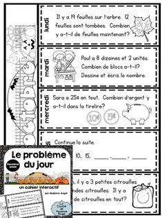 Le problème du jour pour la deuxième année!  Second Grade Math Problem of the Day activities in French!  Interactive flip book style.  $